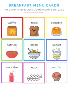 Breakfast Menu Cards for Toddlers and Preschoolers | mamaknowsnutrition.com